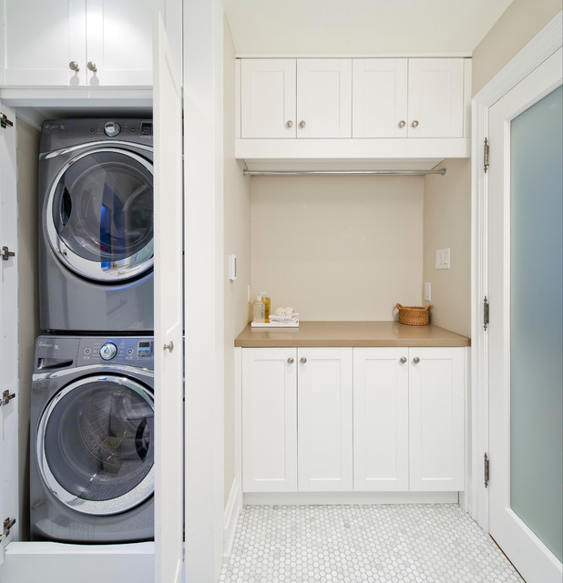 Sunnyside Bathroom/Laundry Room - Transitional - Laundry Room ... on kitchen cabinets for washer dryer, door to hide washer and dryer, pinterest decorating to hide washer dryer, curtains to cover washer and dryer, curtains to hide washer and dryer, bathroom layout with washer dryer,