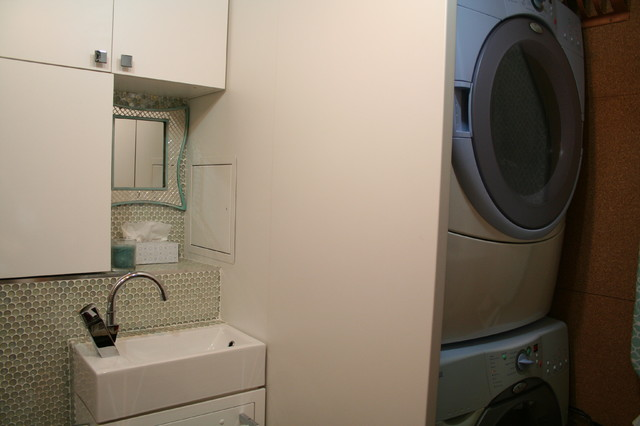 Tiny laundry/powder room contemporary-laundry-room