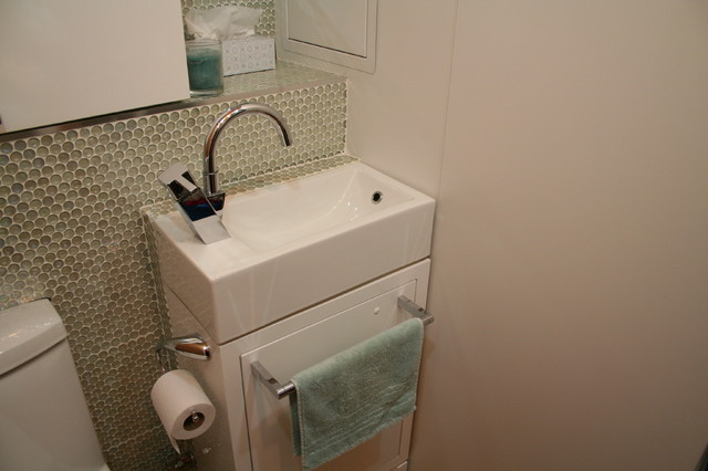 Tiny Laundry/powder Room Contemporary Laundry Room