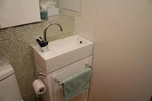 Tiny Laundry Powder Room Contemporary