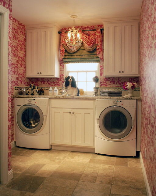 Toile Laundry Room traditional laundry room