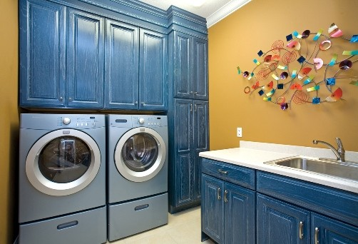 Touch of Blue Laundry Room contemporary laundry room