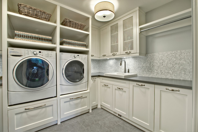 Inspiration For A Transitional Laundry Room Remodel In Calgary With White Cabinets And Gray Countertops