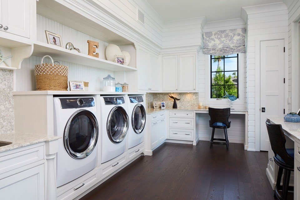 Office and Laundry Room, White Cabinetry by Amoroso Cabinets