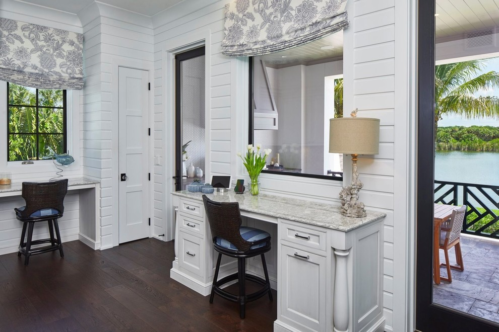 Custom Office Desk, white cabinetry by Amoroso Cabinets
