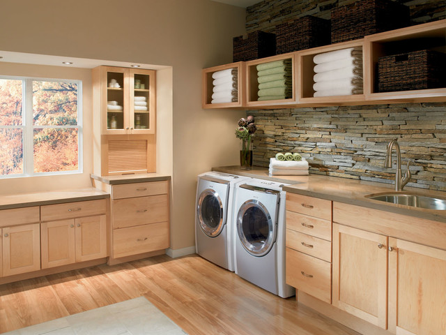 Contemporary Laundry Room Idea In DC Metro With Light Wood Cabinets And An  Undermount Sink