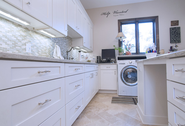 Transitional Multi-Purpose Laundry Room with Painted White Shaker Cabinets