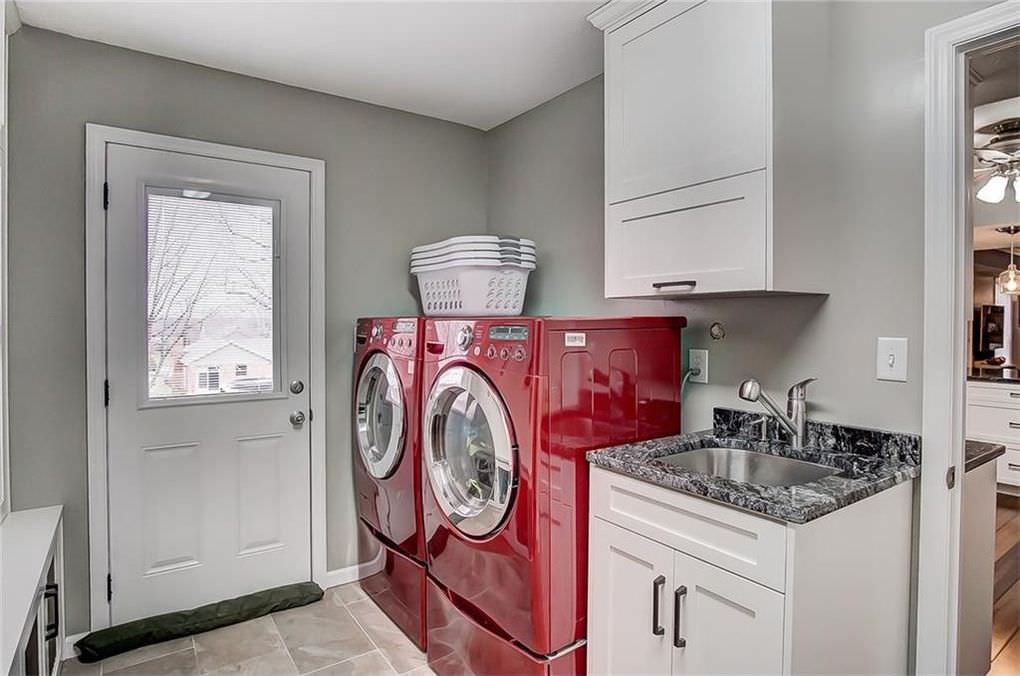 Transitional White Painted Laundry Room