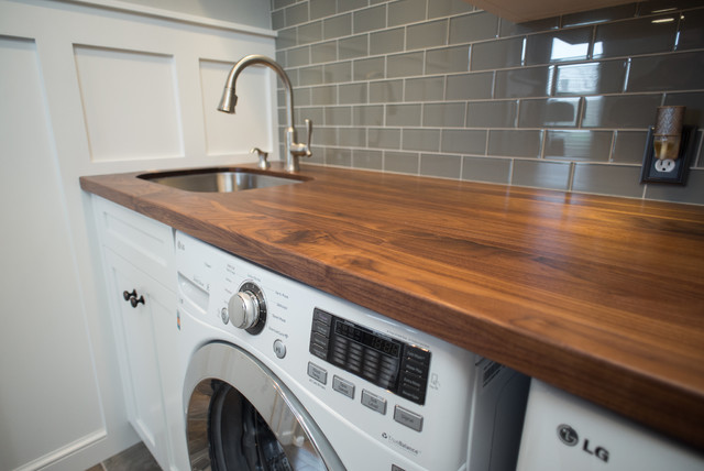 Walnut Counter with Stainless Undermount Sink craftsman-laundry-room