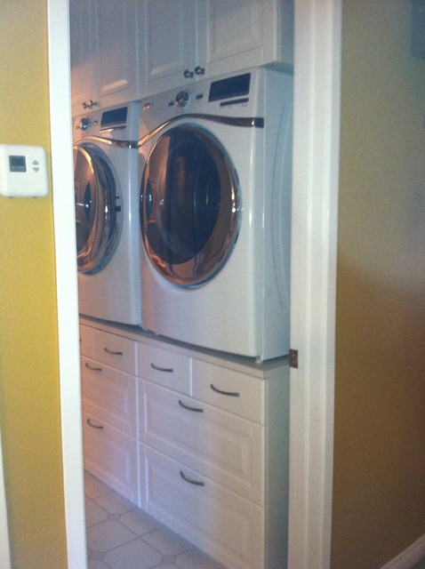 Washer Dryer Stand Traditional Laundry Room San Diego