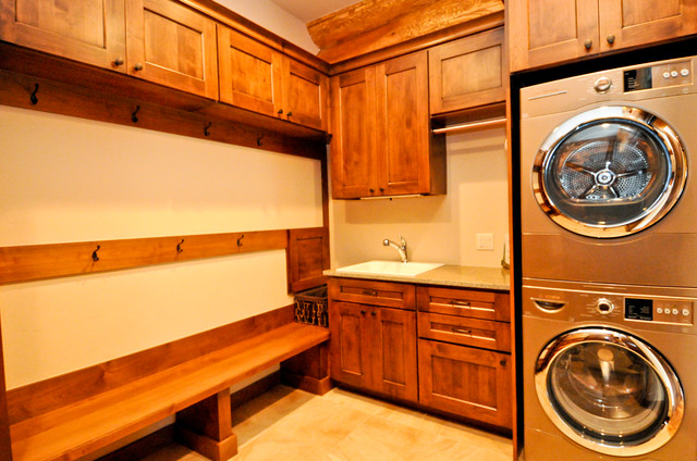 western red cedar ranch style log home rustic laundry room