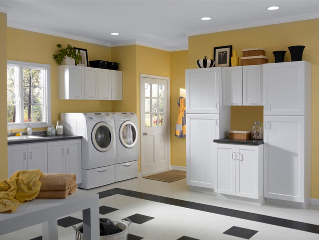 White Cabinets | Rockford Door Style | CliqStudios contemporary-laundry-room