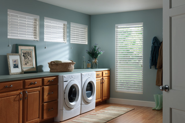 White Faux Wood Blinds Traditional Laundry Room