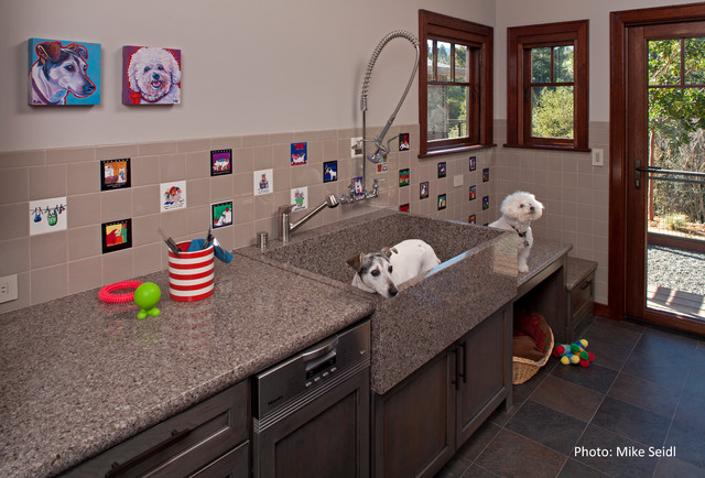 Whole house design contemporary laundry room san for Dog grooming salon floor plans