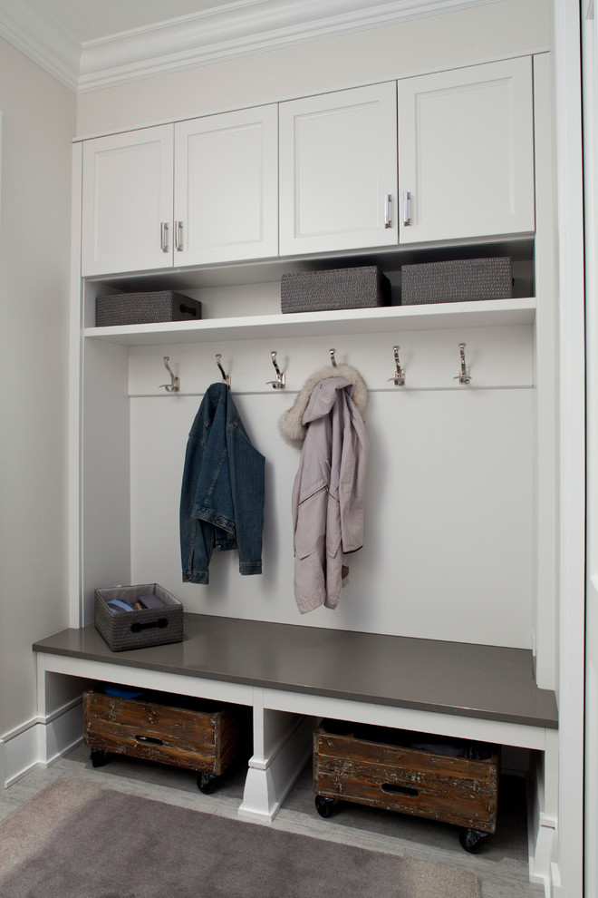 Example of a trendy laundry room design in Chicago