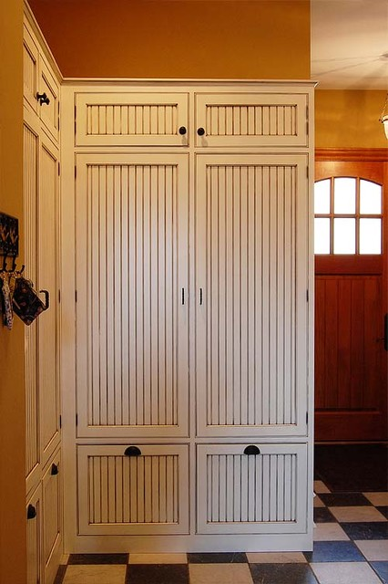 Wood Lockers with doors laundry-room