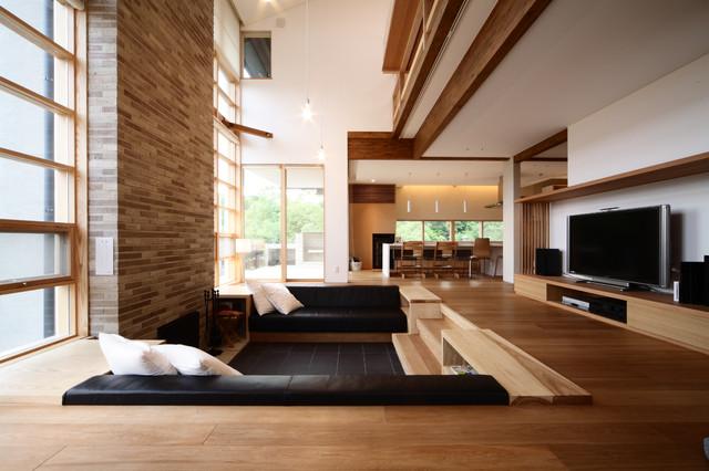 桂坂の家 modern living room kyoto by 株式会社 a studio 一級