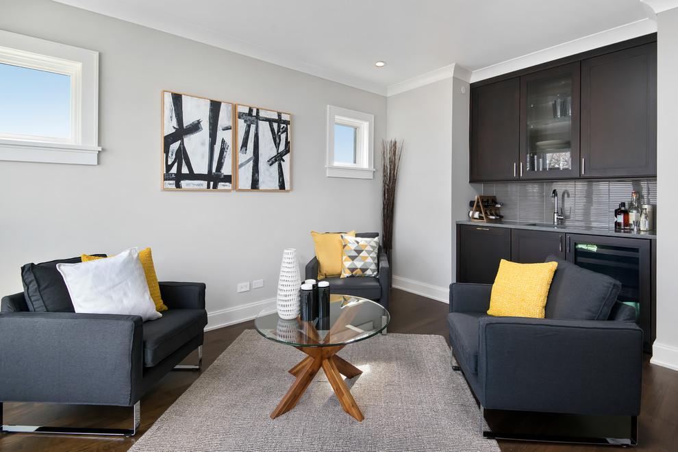 Living room - transitional dark wood floor living room idea in Chicago with gray walls