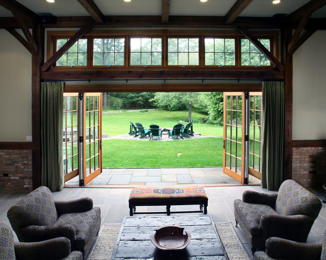 18' bifolding exterior door to family room farmhouse-living-room