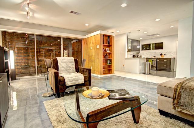 1901 vermont street midcentury living room houston for The family room vermont