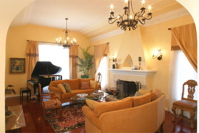 1920 39 s house mediterranean living room los angeles for Living room jazz los angeles