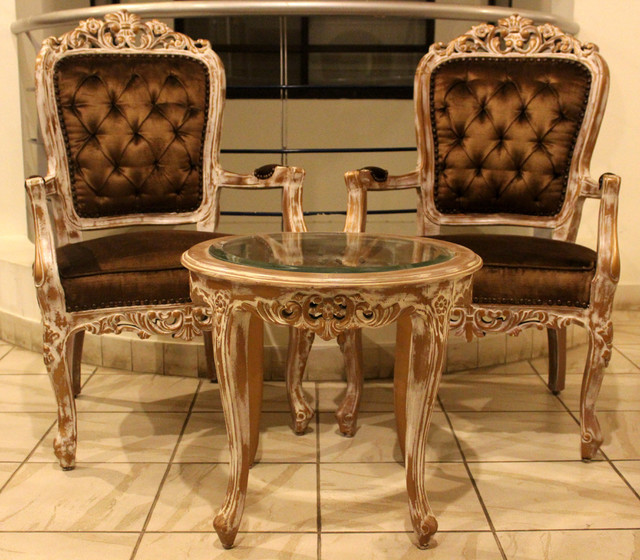 2 Bedroom Chair Round Table Set Rustic Living Room Other