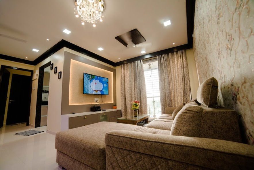 2 Bhk Home Interior Design Homes By Hollahomes Com Modern Living Room Mumbai By Holla Homes