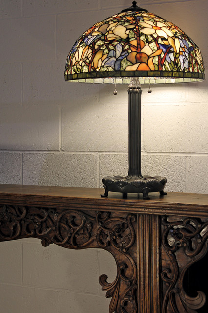 Traditional Living Room Table Lamps 20-inch magnificent magnolia gemstone tiffany-style table lamp