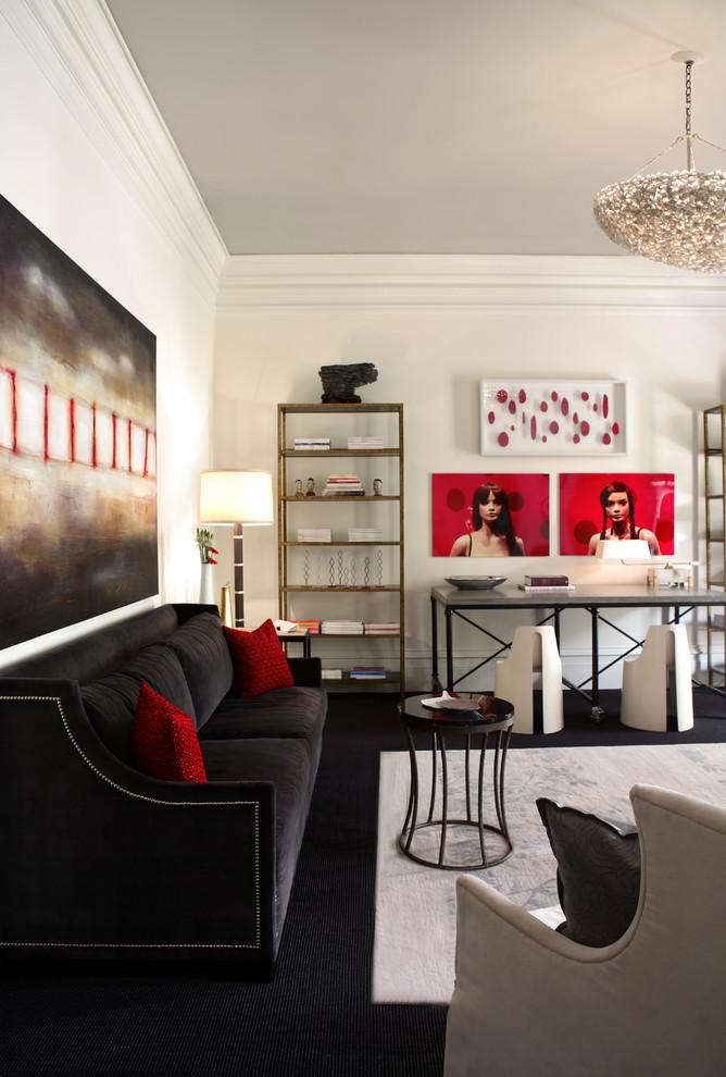 Living room - contemporary black floor living room idea in Atlanta with white walls