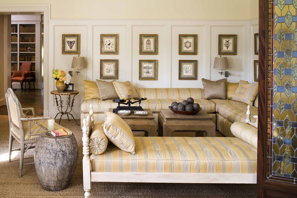 Inspiration for a timeless living room remodel in Dallas with beige walls