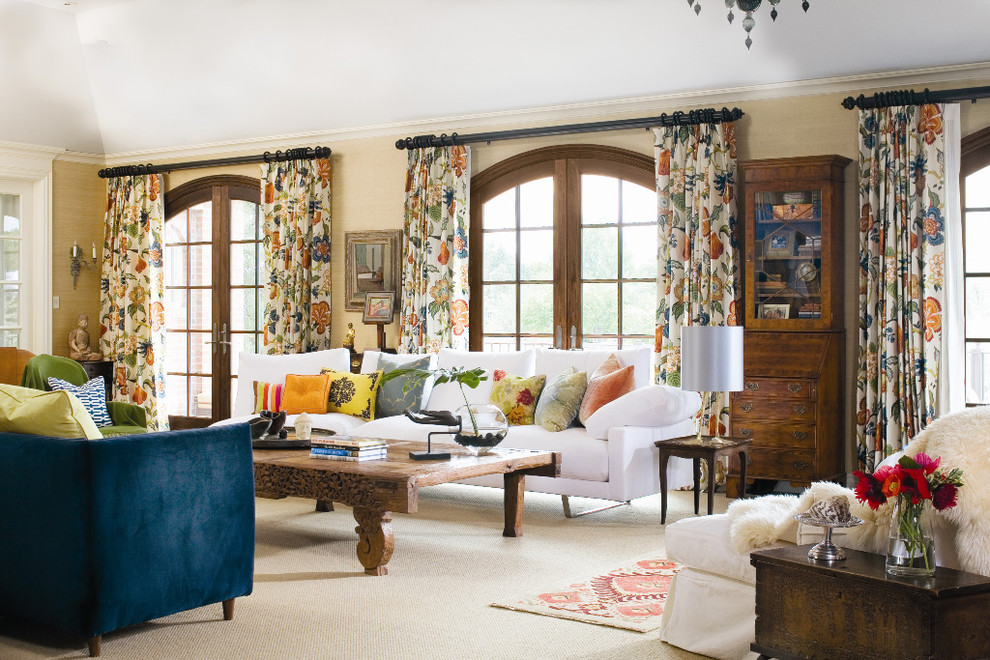 Inspiration for a timeless carpeted living room remodel in Denver with beige walls