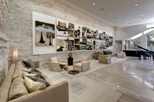 Inspiration For A Contemporary Limestone Floor Living Room Remodel In Orlando