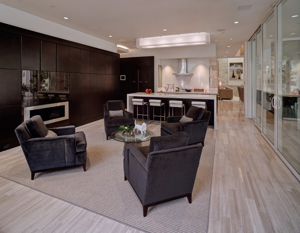 Inspiration for a contemporary open concept living room remodel in Orlando with a ribbon fireplace