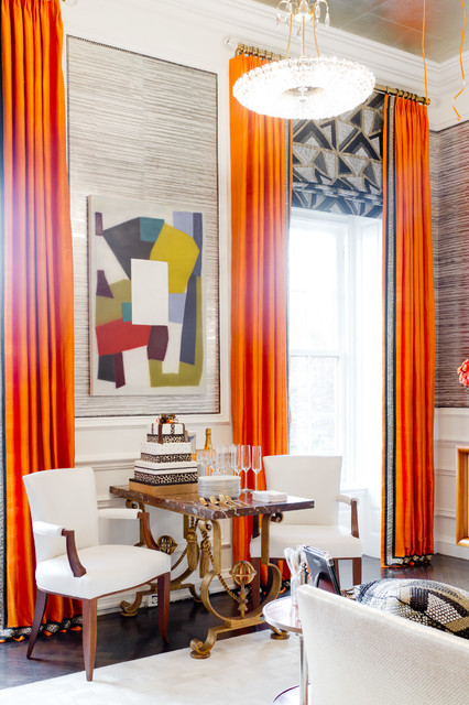 2013 holiday house nyc eclectic living room new york - Curtains with orange walls ...