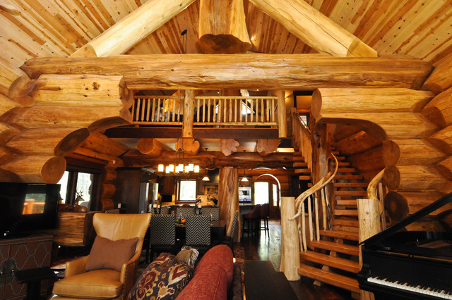 2013 parade home moose ridge cabin log home rustic for Log living room