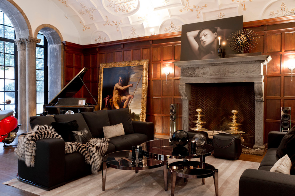 Example of a trendy dark wood floor living room design in New York with a music area and a standard fireplace