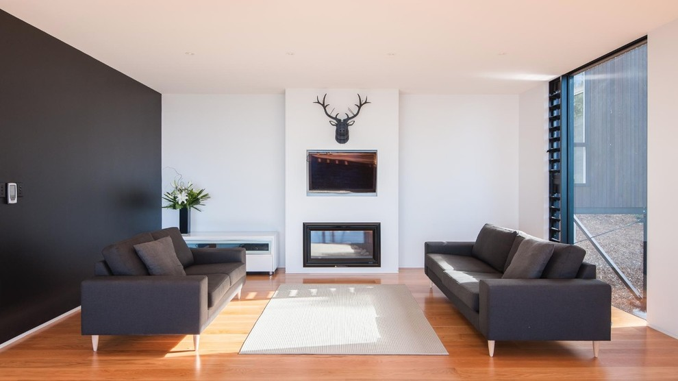 Inspiration for a contemporary living room remodel in Auckland with a ribbon fireplace