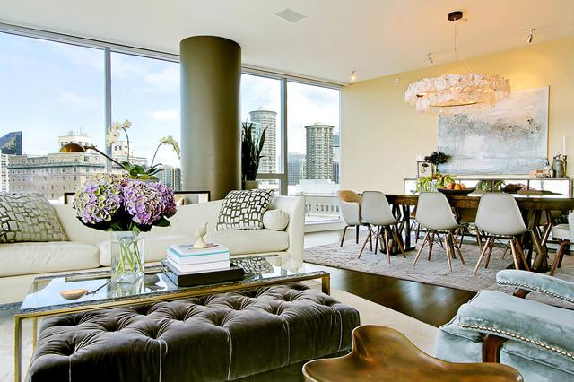Example Of A Trendy Open Concept Dark Wood Floor Living Room Design In  Seattle With Beige