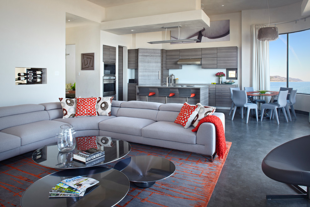Design ideas for a contemporary living room in Santa Barbara with concrete flooring and grey floors.