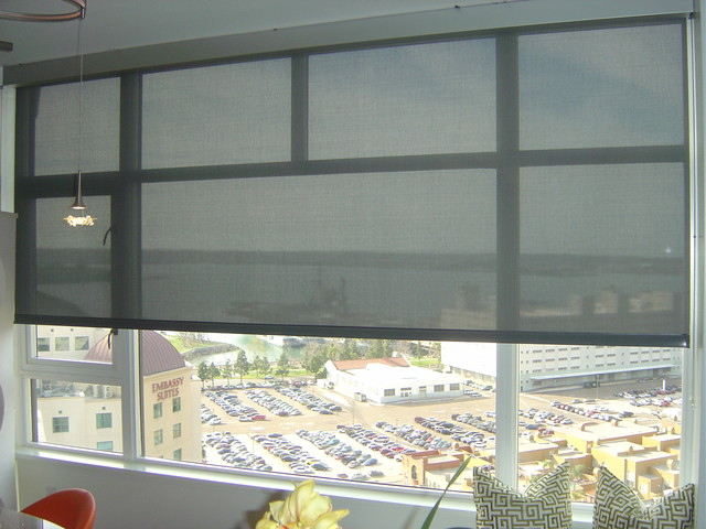 3 screen motorized roller shades modern living room for Screen porch window treatments