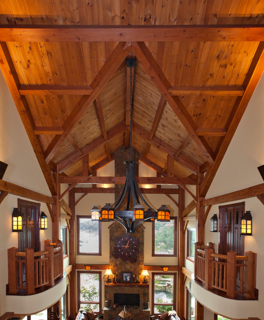 3 story full timber frame traditional living room for Timber frame home interiors