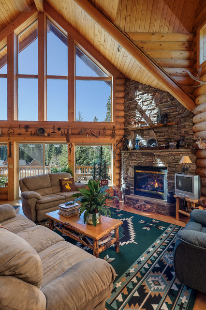 3310 Log Cabin Rustic Living Room Seattle By Fju Photography