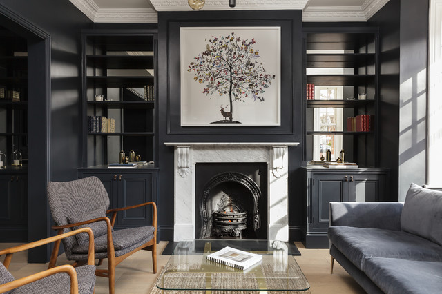 9 Gorgeous Living Rooms With Dark Walls Houzz Uk