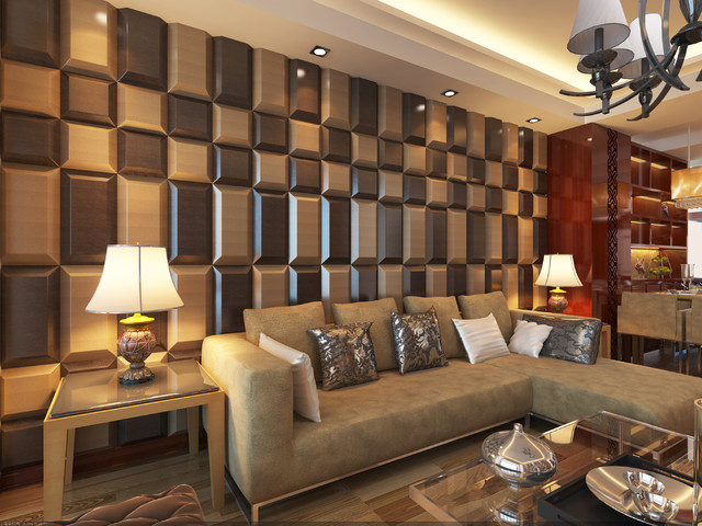3D Leather Tiles For Living Room Wall Designs - Modern - Living