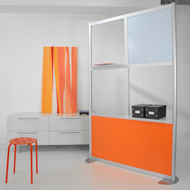 modern room divider white and orange panels modern living room