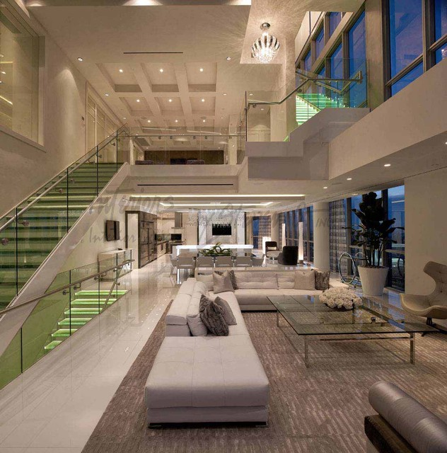 4 story penthouse miami contemporary living room for W living room miami