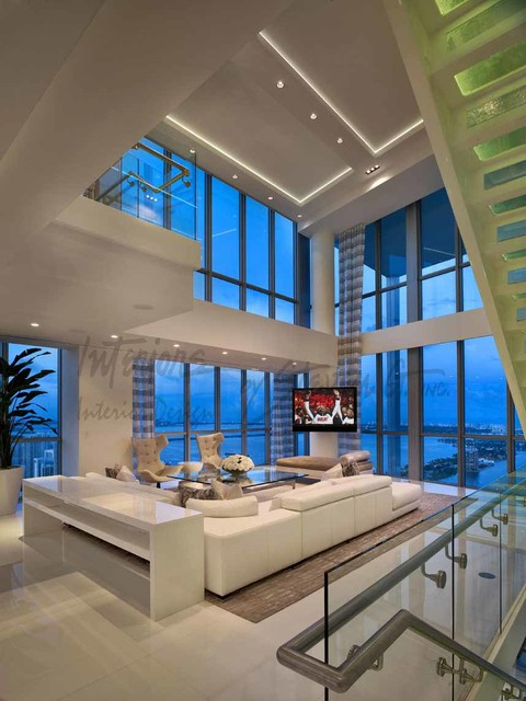 4 Story Penthouse Miami Contemporary Living Room
