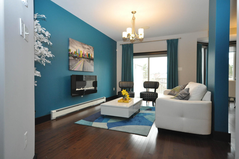 Mid-sized minimalist formal and open concept dark wood floor living room photo in Other with blue walls, a ribbon fireplace and a metal fireplace