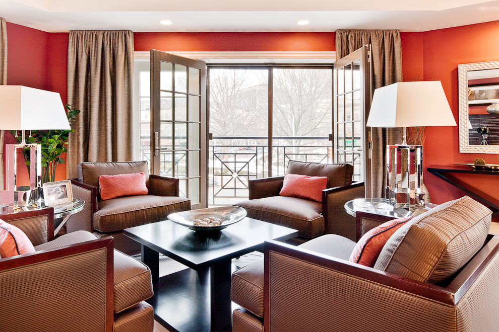 Living room - contemporary living room idea in New York with orange walls
