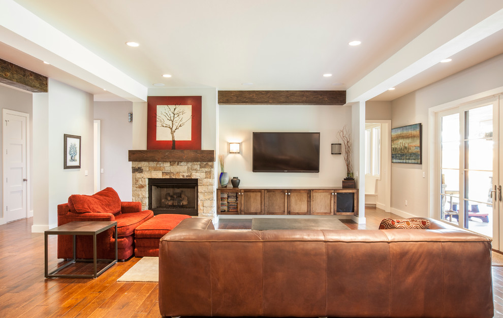 Example of a transitional living room design in Oklahoma City with gray walls